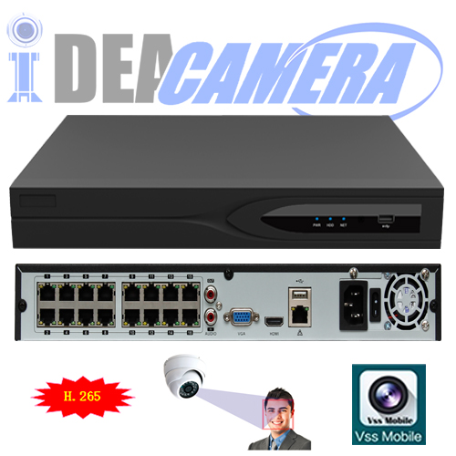 32CH H.265 HD NVR with 16ch POE,VSS Mobile App,Support face detection,Support 4K Video Output